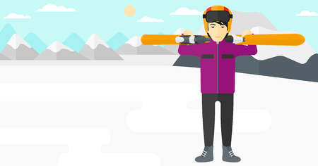 snow capped: An asian man carrying skis on his shoulders on the background of snow capped mountain vector flat design illustration. Horizontal layout.