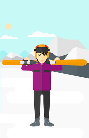 An asian man carrying skis on his shoulders on the background of snow capped mountain vector flat design illustration. Vertical layout.
