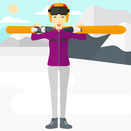 snow capped mountain: An asian woman carrying skis on her shoulders on the background of snow capped mountain vector flat design illustration. Square layout. Illustration