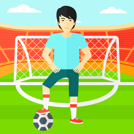 An asian man with football ball on the field of stadium  vector flat design illustration vector flat design illustration. Square layout.