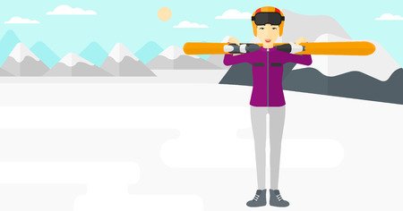 snow capped: An asian woman carrying skis on her shoulders on the background of snow capped mountain vector flat design illustration. Horizontal layout.