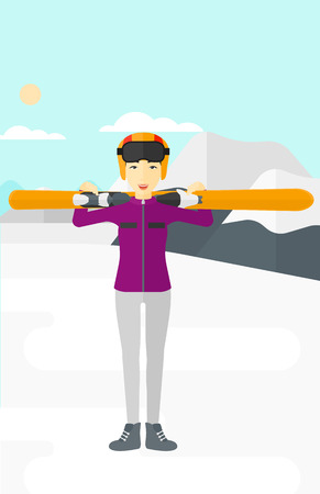 snow capped: An asian woman carrying skis on her shoulders on the background of snow capped mountain vector flat design illustration. Vertical layout. Illustration