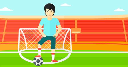 pelota caricatura: Un hombre asi�tico con el bal�n de f�tbol en el campo del estadio vector de dise�o plano ilustraci�n vectorial, ilustraci�n, dise�o plano. disposici�n horizontal.
