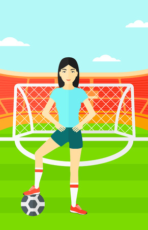 An asian woman with football ball on the field of stadium vector flat design illustration vector flat design illustration. Vertical layout.
