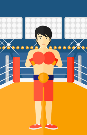 An asian man in gloves in the ring vector flat design illustration vector flat design illustration. Vertical layout.