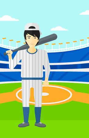 An asian man with a bat on the baseball stadium vector flat design illustration. Vertical layout.