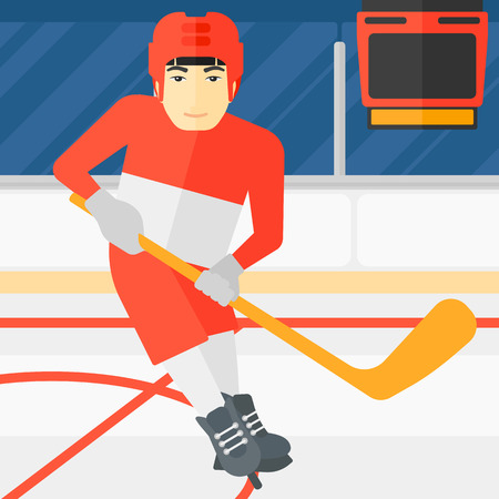 rink: An asian man skating with a stick on ice rink vector flat design illustration. Square layout. Illustration