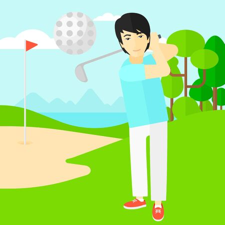 golf field: An asian man hitting the ball on golf field vector flat design illustration. Square layout.