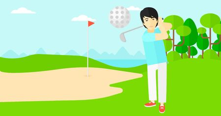 golf field: An asian man hitting the ball on golf field vector flat design illustration. Horizontal layout.