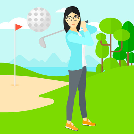 golf field: An asian woman hitting the ball on golf field vector flat design illustration. Square layout.
