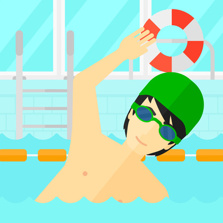 swimming cap: An asian man wearing cap and glasses training in swimming pool vector flat design illustration. Square layout.