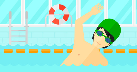 An asian man wearing cap and glasses training in swimming pool vector flat design illustration. Horizontal layout.