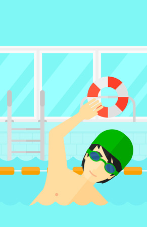 swimming cap: An asian man wearing cap and glasses training in swimming pool vector flat design illustration. Vertical layout.