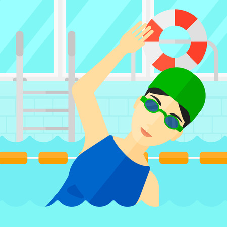 swimming cap: An asian woman wearing cap and glasses training in swimming pool vector flat design illustration. Square layout.