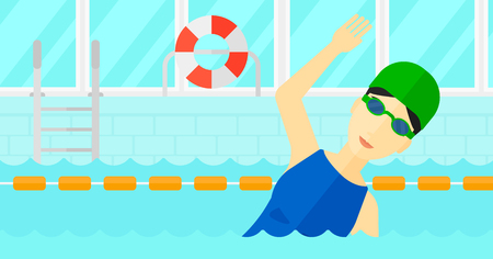 swimming cap: An asian woman wearing cap and glasses training in swimming pool vector flat design illustration. Horizontal layout. Illustration