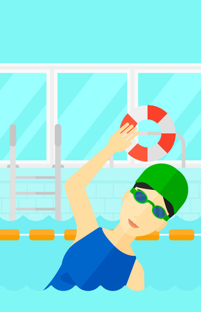 swimming cap: An asian woman wearing cap and glasses training in swimming pool vector flat design illustration. Vertical layout.