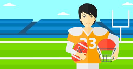 football stadium: An asian man with ball and helmet on rugby stadium vector flat design illustration. Horizontal layout.