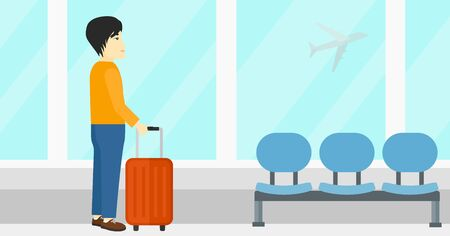 airplane window: An asian man at airport with a suitcase on the background of airplane in sky outside the window vector flat design illustration. Horizontal layout.