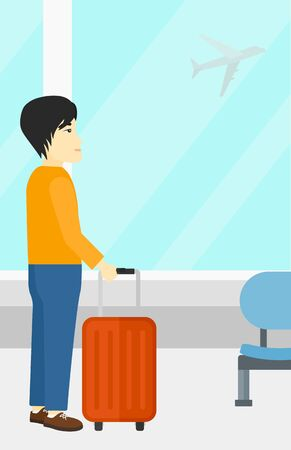 An asian man at airport with a suitcase on the background of airplane in sky outside the window vector flat design illustration. Vertical layout.