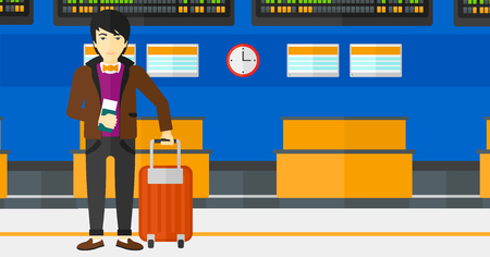 An asian man standing with suitcase and holding a passport with ticket in hand on the background of schedule board in airport vector flat design illustration. Horizontal layout. Illustration