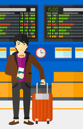 An asian man standing with suitcase and holding a passport with ticket in hand on the background of schedule board in airport vector flat design illustration. Vertical layout. Illustration