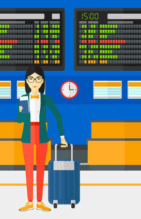 An asian woman standing with suitcase and holding a passport with ticket in hand on the background of schedule board in airport vector flat design illustration. Vertical layout.