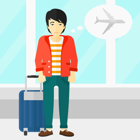 airport cartoon: An asian man frightened by future flight on the background of airport vector flat design illustration. Square layout.