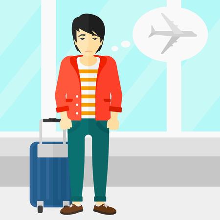 avion caricatura: Un hombre asi�tico asustado por el futuro de vuelo en el fondo del aeropuerto ilustraci�n vectorial dise�o plano. de planta cuadrada.
