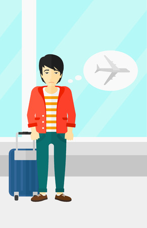 shaken: An asian man frightened by future flight on the background of airport vector flat design illustration. Vertical layout. Illustration