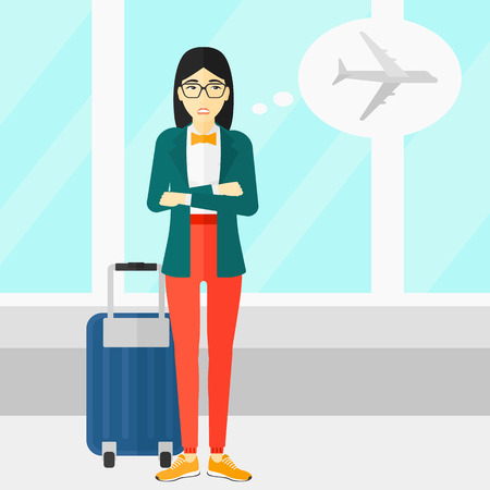 shaken: An asian woman frightened by future flight on the background of airport vector flat design illustration. Square layout.