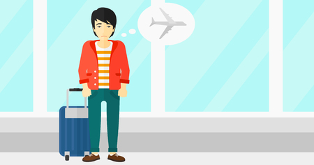 shaken: An asian man frightened by future flight on the background of airport vector flat design illustration. Horizontal layout.