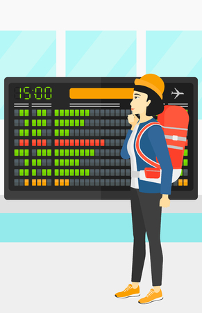 device: An asian woman looking at schedule board at airport vector flat design illustration. Vertical layout. Illustration