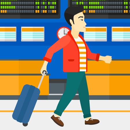 Een Aziatische mens die met een koffer op de achtergrond van programmeerraad lopen in illustratie van het luchthaven de vector vlakke ontwerp. Vierkante lay-out. Stock Illustratie