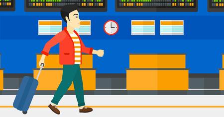 Een Aziatische man lopen met een koffer op de achtergrond van de programmaraad in de luchthaven vector platte ontwerp illustratie. Horizontale lay-out.