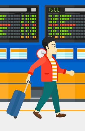 Een Aziatische man lopen met een koffer op de achtergrond van de programmaraad in de luchthaven vector platte ontwerp illustratie. Verticale lay-out.