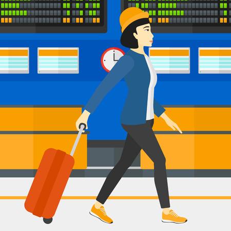 Een Aziatische vrouw lopen met een koffer op de achtergrond van de programmaraad in de luchthaven vector platte ontwerp illustratie. Vierkante lay-out. Stock Illustratie