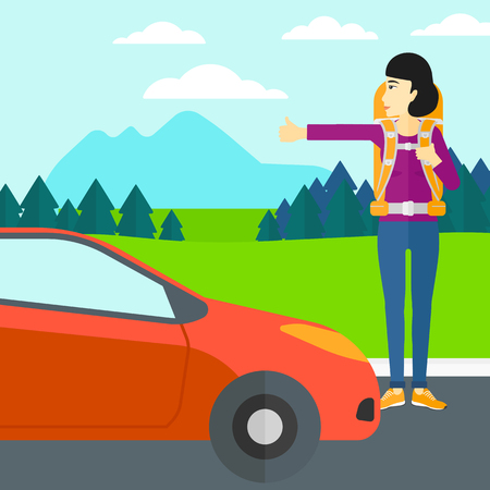 An asian woman hitchhiking trying to stop a car on the background of mountains and trees vector flat design illustration. Square layout.