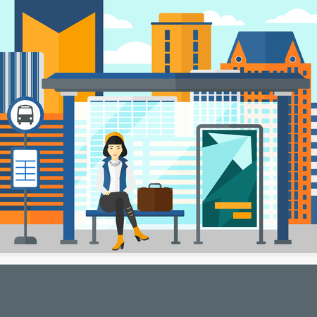bus station: An asian woman waiting for a bus at a bus-stop on a city background vector flat design illustration. Square layout.