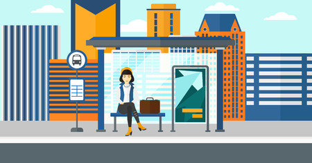 An asian woman waiting for a bus at a bus-stop on a city background vector flat design illustration. Horizontal layout. Illustration