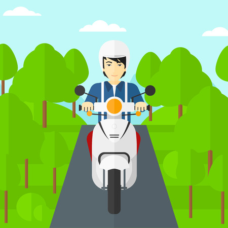 An asian man riding a scooter on the asphalt road on the background of forest vector flat design illustration. Square layout.