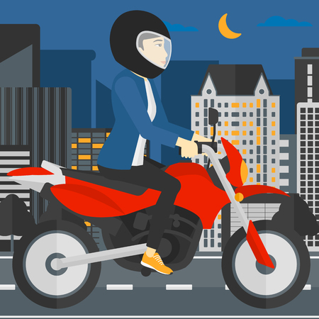 shapes cartoon: An asian woman riding a motorcycle on the background of night city vector flat design illustration. Square layout. Illustration