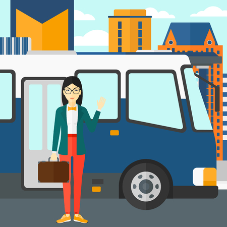 bus stop: An asian woman standing at the entrance door of bus on the background of bus stop with skyscrapers behind vector flat design illustration. Square layout.