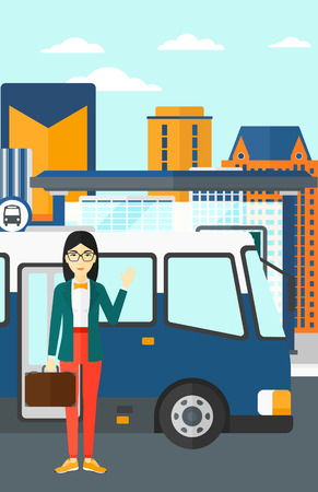 An asian woman standing at the entrance door of bus on the background of bus stop with skyscrapers behind vector flat design illustration. Vertical layout.
