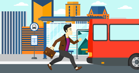 An asian man running along the sidewalk to reach the bus on the background of bus stop with skyscrapers behind vector flat design illustration. Horizontal layout.