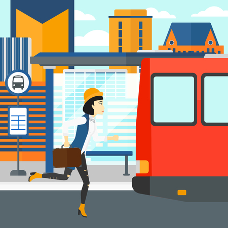 An asian woman running along the sidewalk to reach the bus on the background of bus stop with skyscrapers behind vector flat design illustration. Square layout.