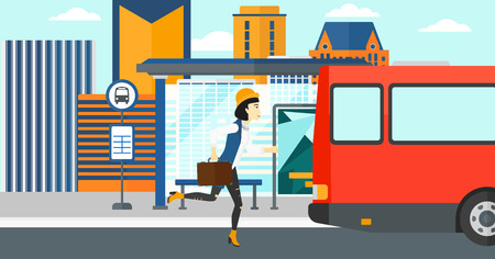 An asian woman running along the sidewalk to reach the bus on the background of bus stop with skyscrapers behind vector flat design illustration. Horizontal layout.