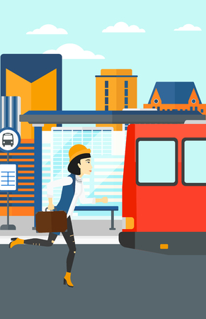 An asian woman running along the sidewalk to reach the bus on the background of bus stop with skyscrapers behind vector flat design illustration. Vertical layout.