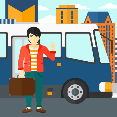 entrance door: An asian man standing at the entrance door of bus on a city background vector flat design illustration. Square layout.