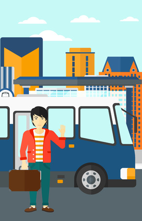 An asian man standing at the entrance door of bus on the background of bus stop with skyscrapers behind vector flat design illustration. Vertical layout.