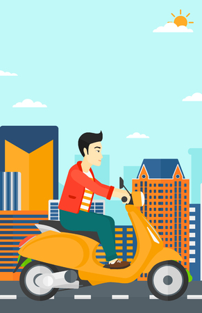 An asian man riding a scooter on a city background vector flat design illustration. Vertical layout.